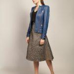 Кожаная куртка небесно-синего цвета 2