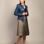Кожаная куртка небесно-синего цвета 4