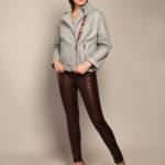 Кожаная куртка с воротником-стойкой 3