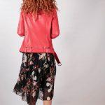 Кожаная куртка-косуха ярко-алого цвета 4