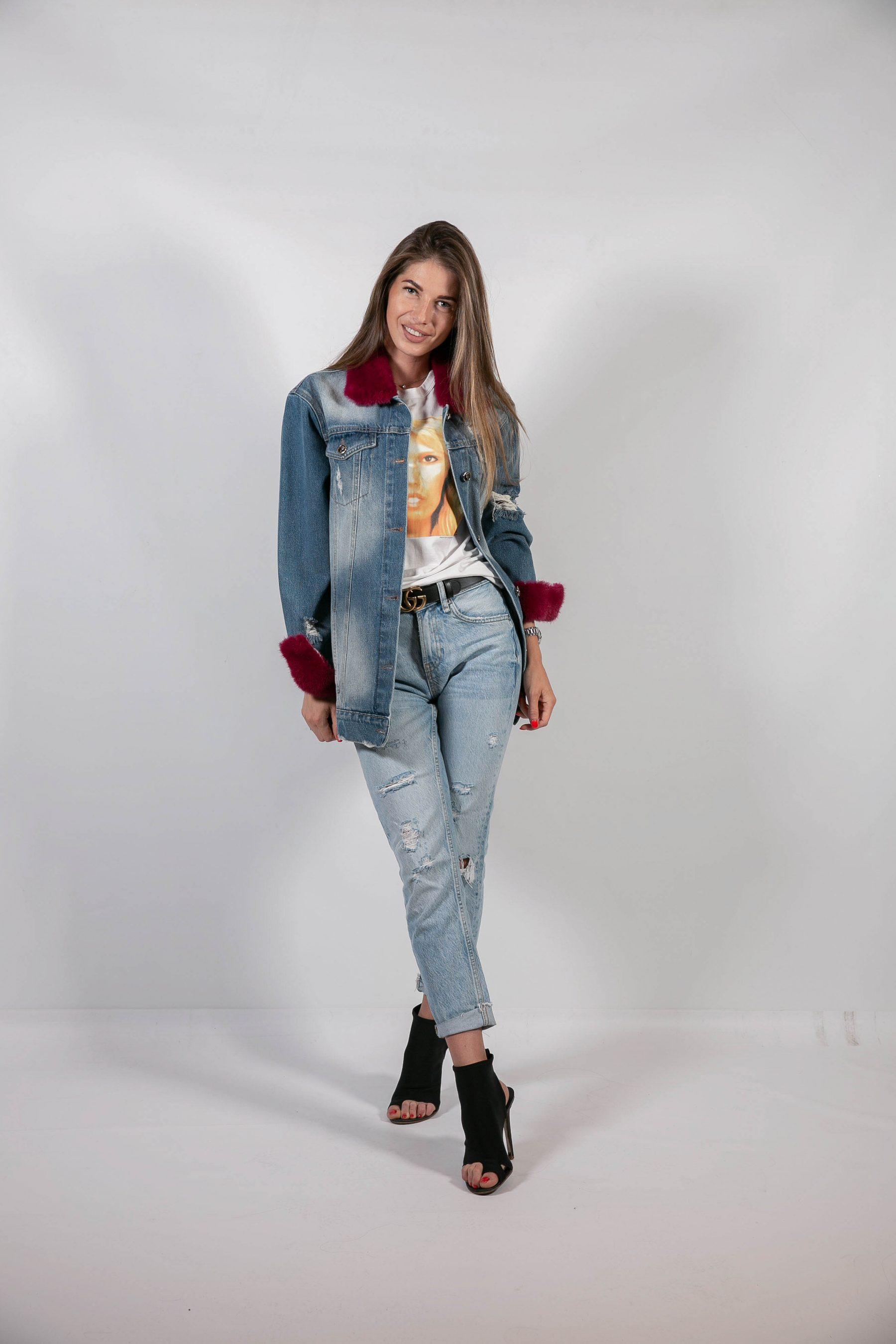 Джинсовая куртка с меховым декором 1