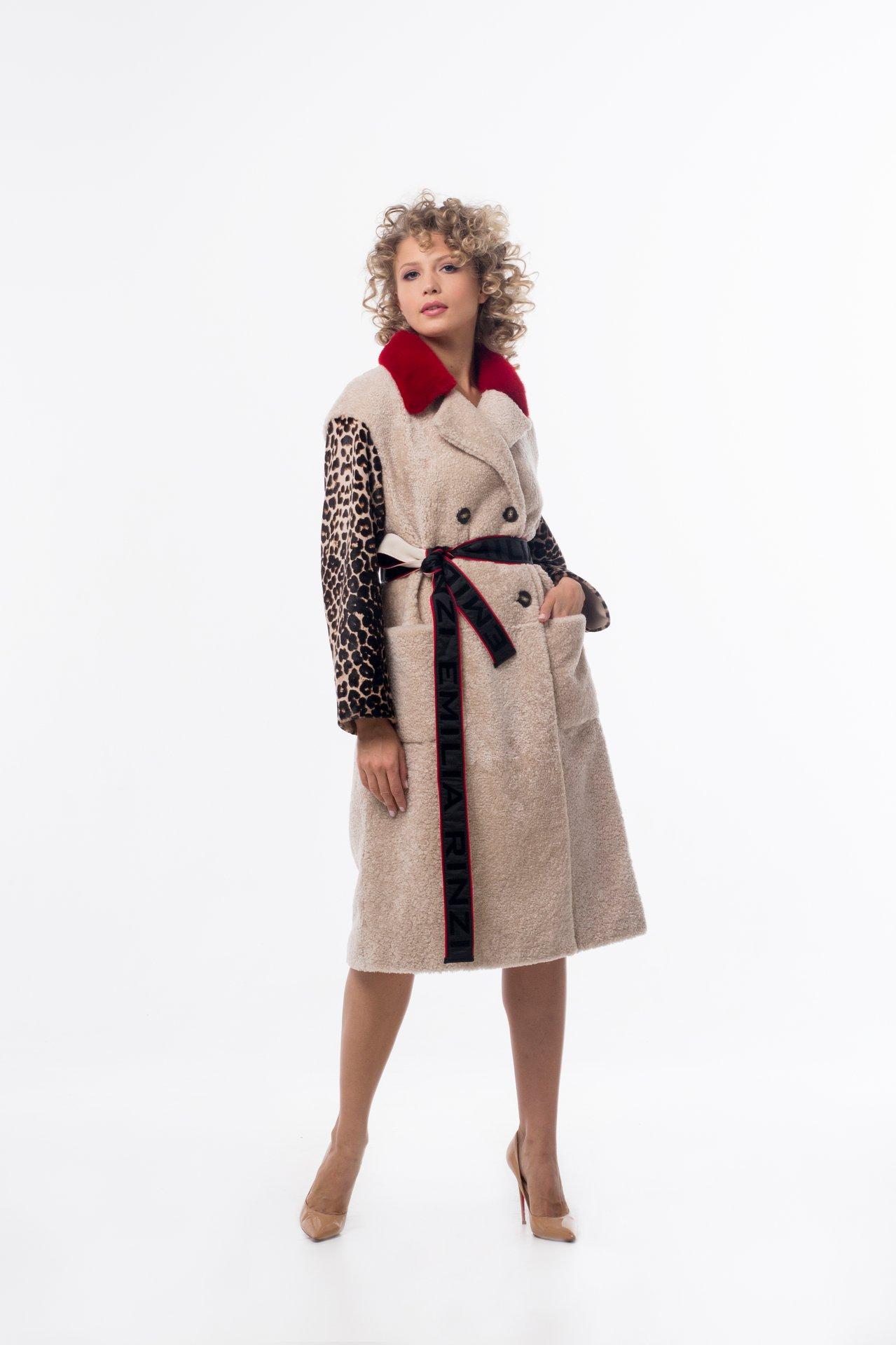 Дубленка из овчины керли по типу двубортного пальто 1