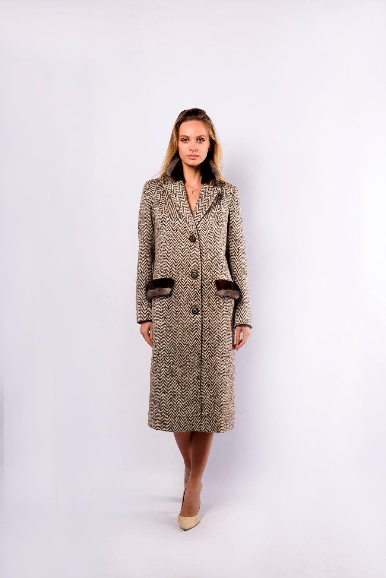 Пальто из шерсти с фактурным рисунком 1