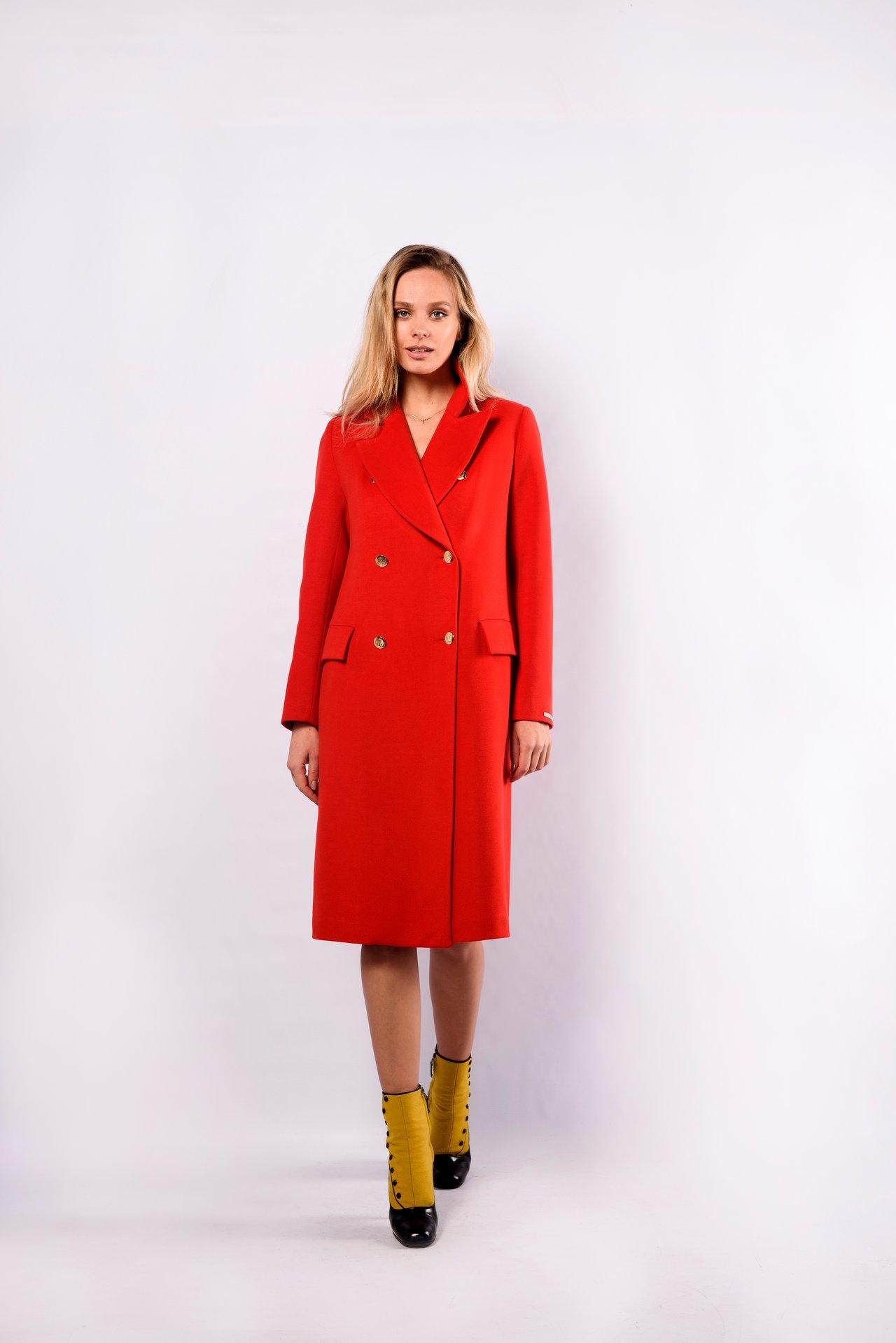 Однотонное шерстяное пальто 1