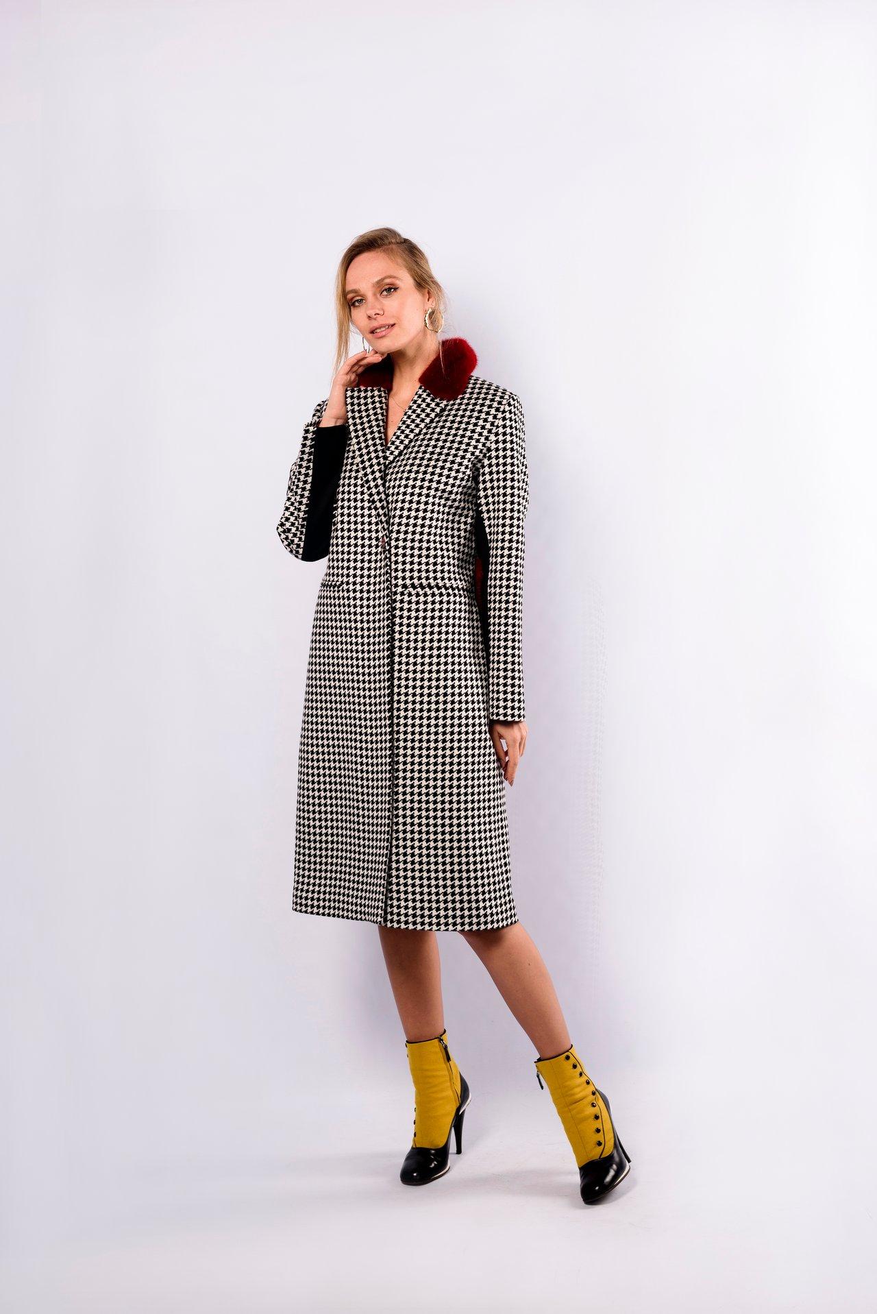 Шерстяное пальто-френч с отложным воротником 1