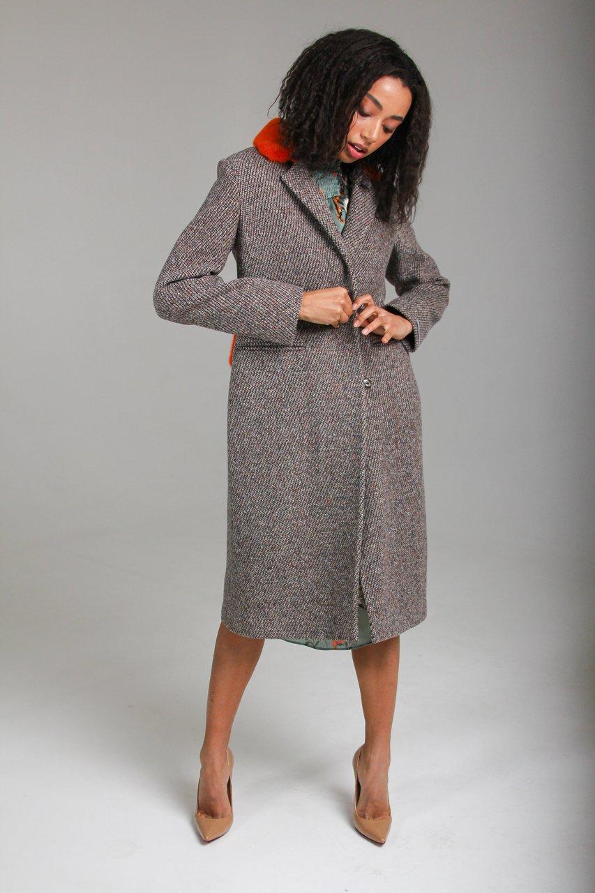 Пальто из кашемира с поясом и воротом 1