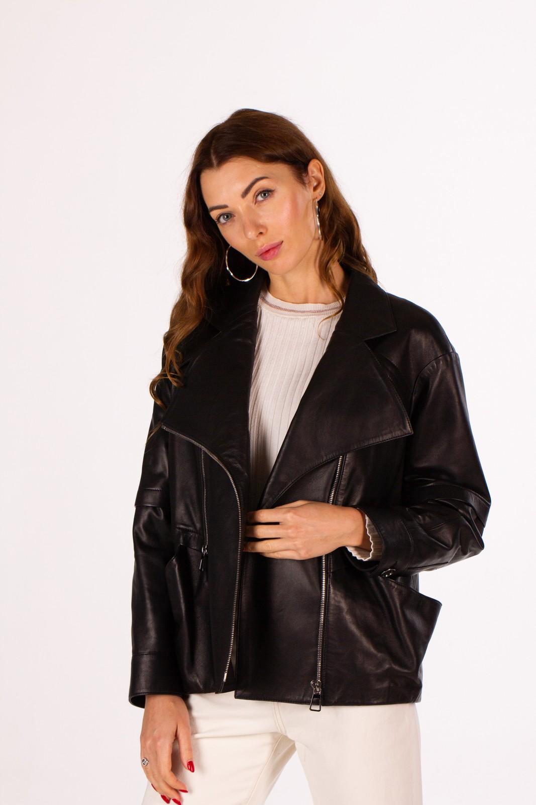 Однобортная кожаная куртка на молнии 1