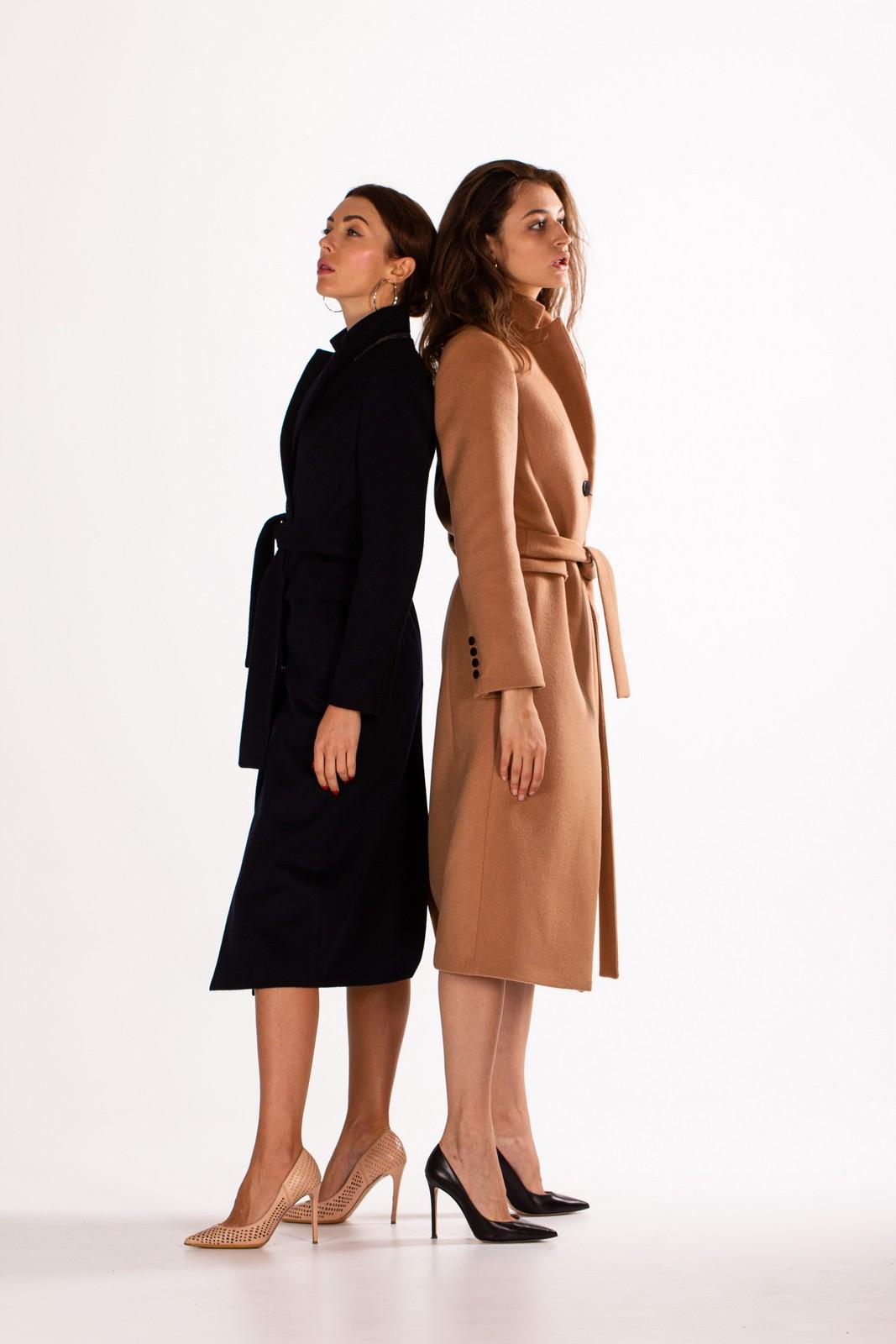 Пальто женское длинное под пояс 1
