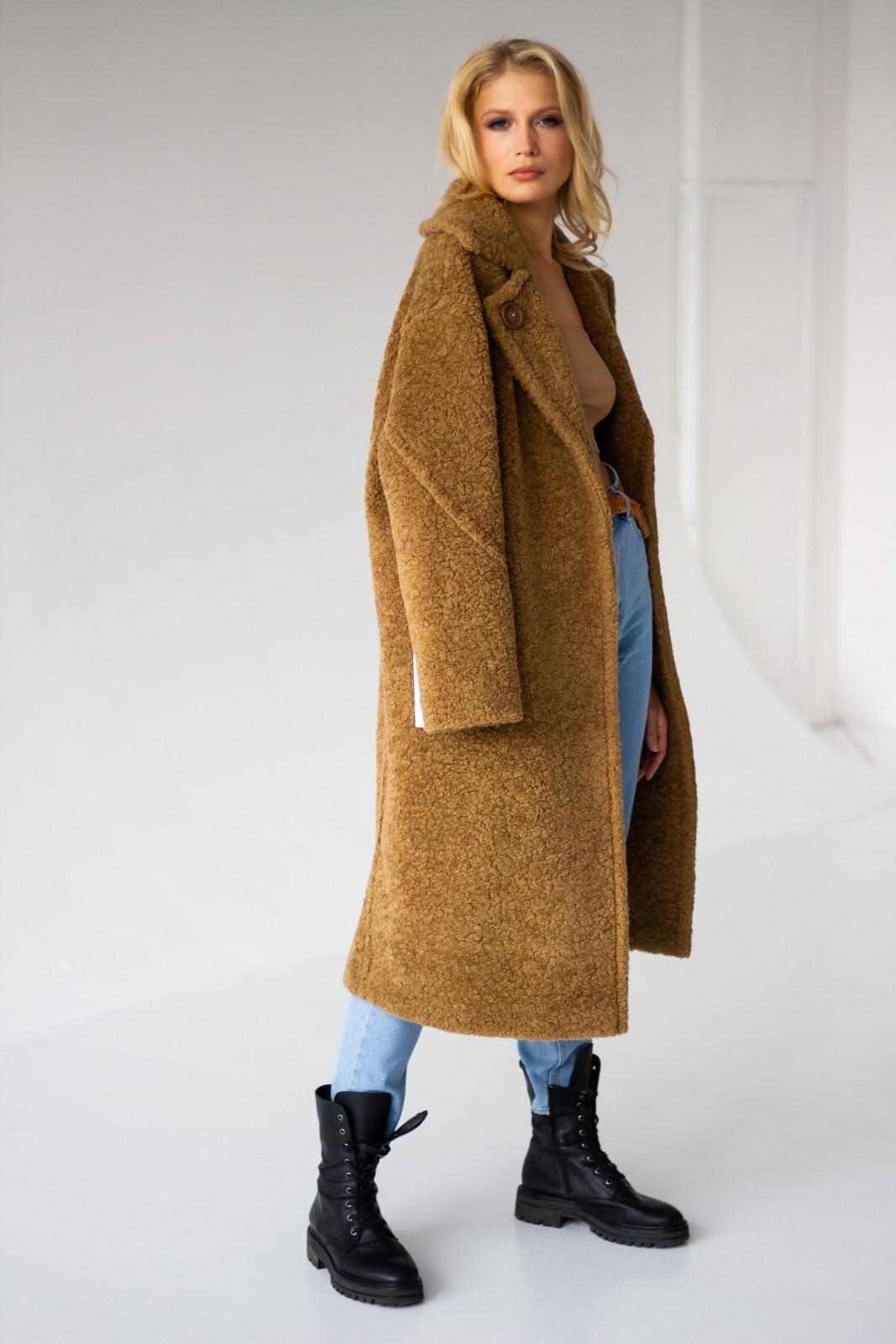 Темно - бежевое пальто 1