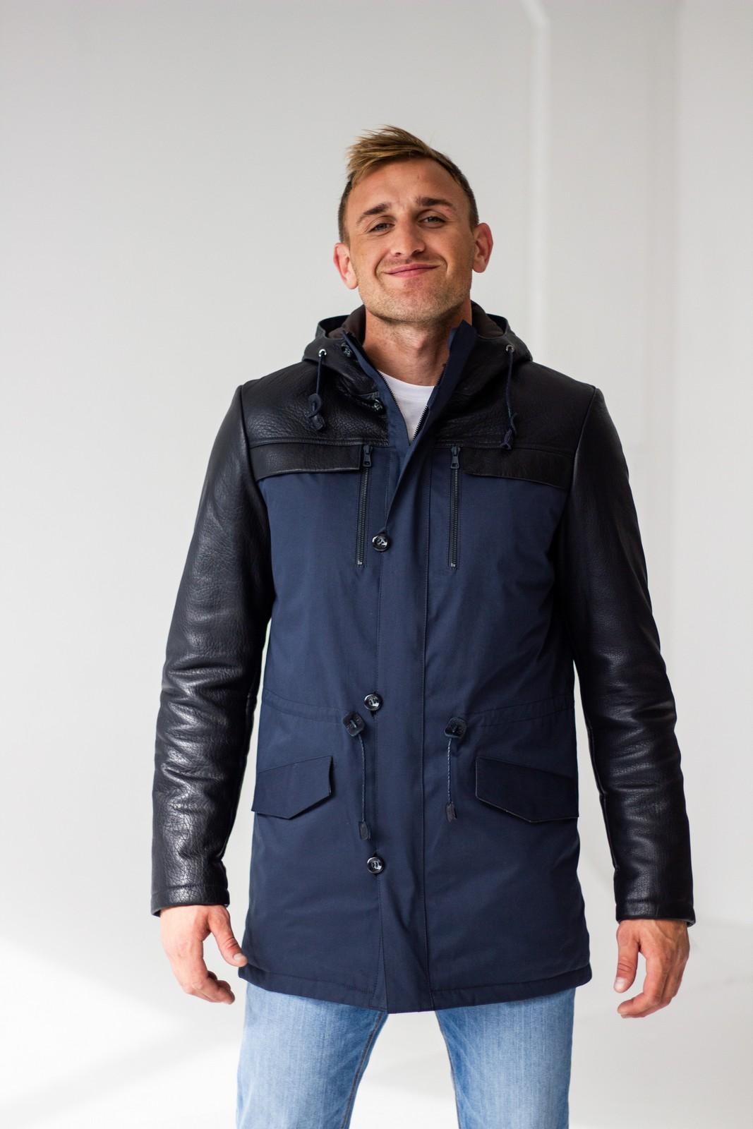 Удлиненная комбинированная куртка 1