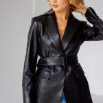 Черный кожаный пиджак 3