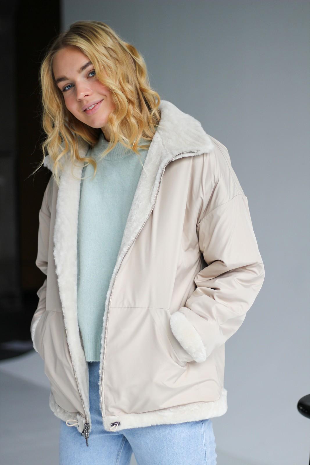 Двухсторонняя дубленка – куртка жемчужного цвета 1