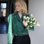 Кожаная куртка - косуха изумрудного цвета 4