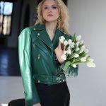 Кожаная куртка - косуха изумрудного цвета 2