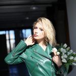 Кожаная куртка - косуха изумрудного цвета 3