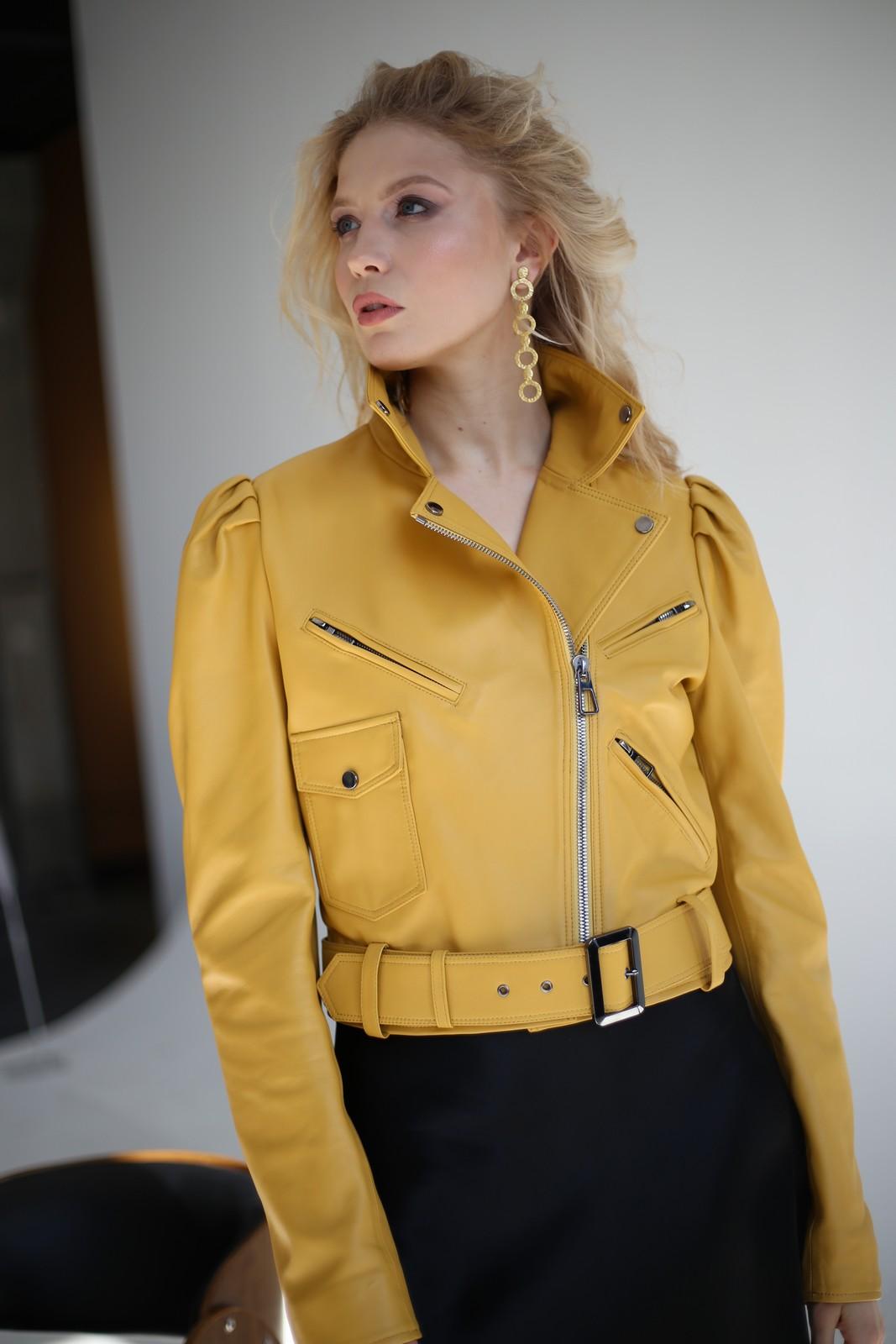 Шикарная кожаная куртка - косуха в стиле 90-х 1