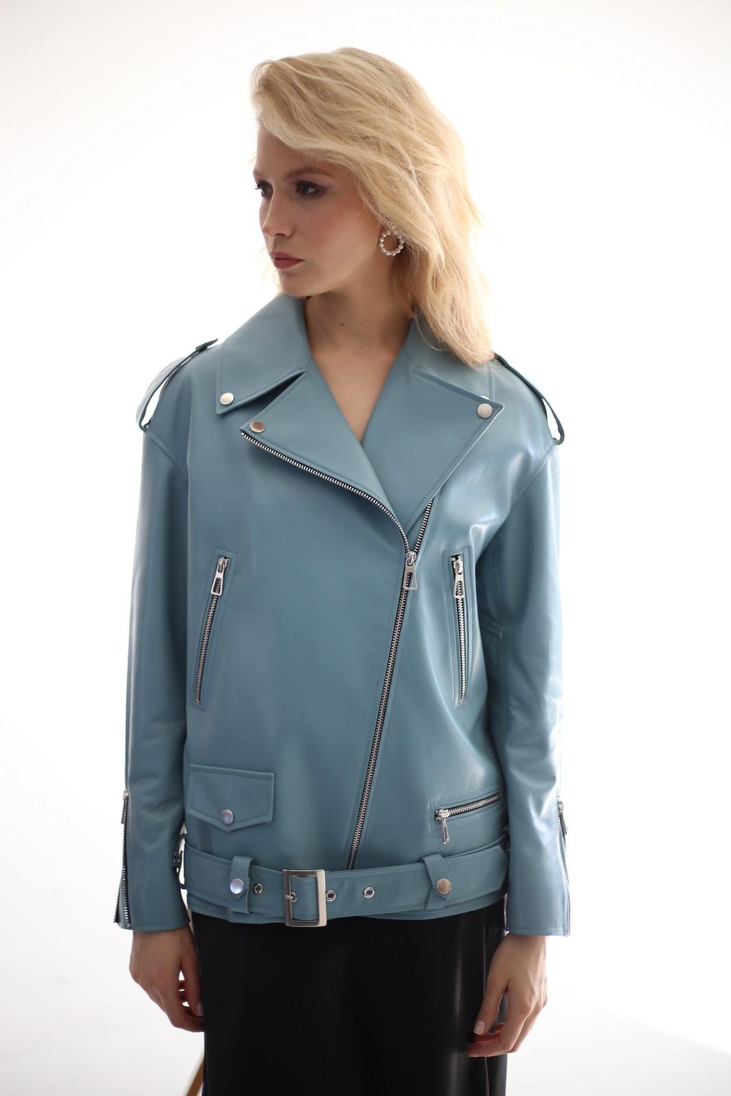 Кожаная куртка – косуха цвета тифани 1