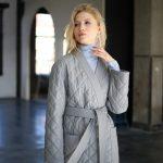 Куртка - жакет из натуральной кожи цвета дымка 3
