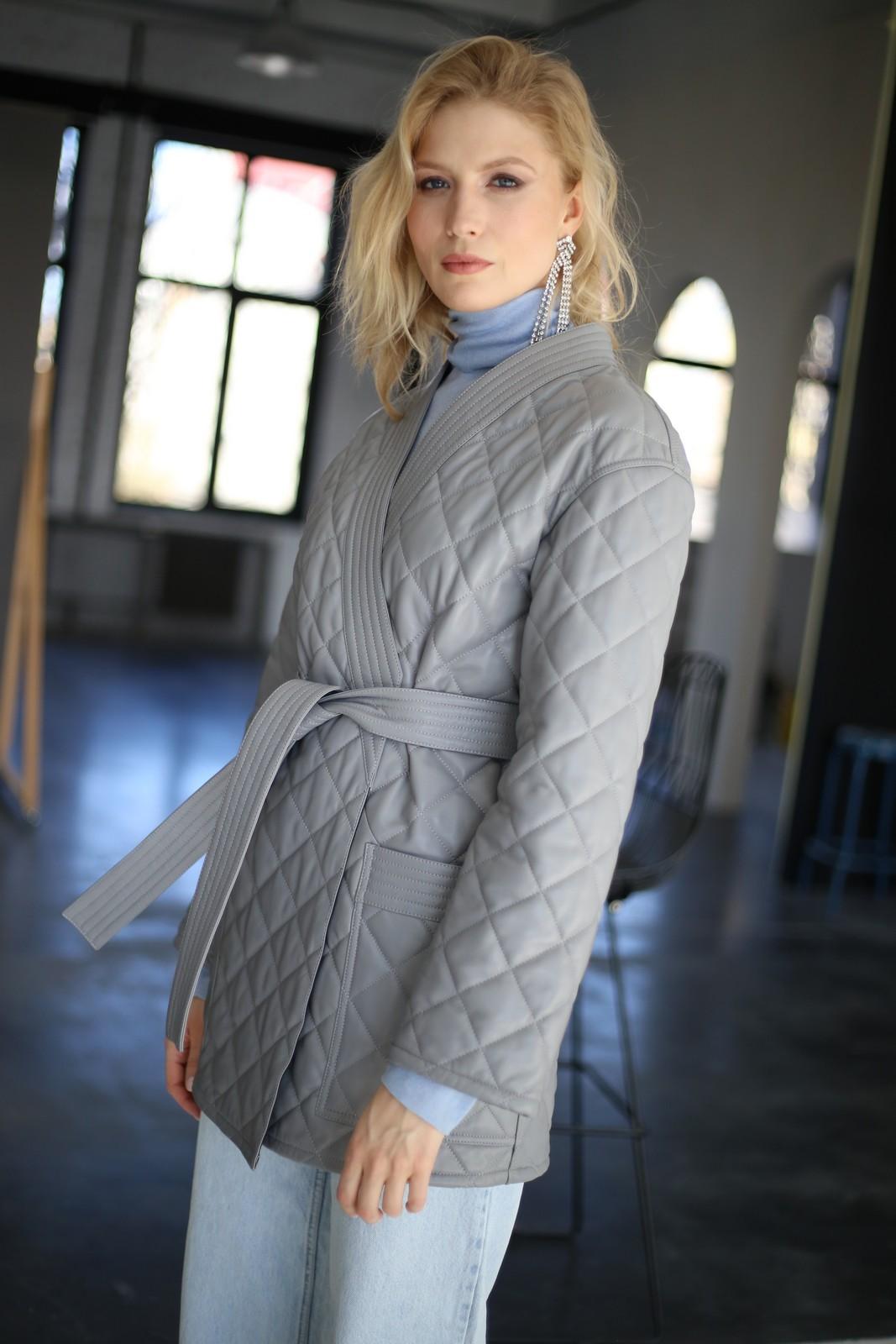 Куртка - жакет из натуральной кожи цвета дымка 1