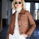 Куртка из натуральной кожи цвета виски 3