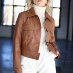 Куртка из натуральной кожи цвета виски 4