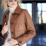 Куртка из натуральной кожи цвета виски 2