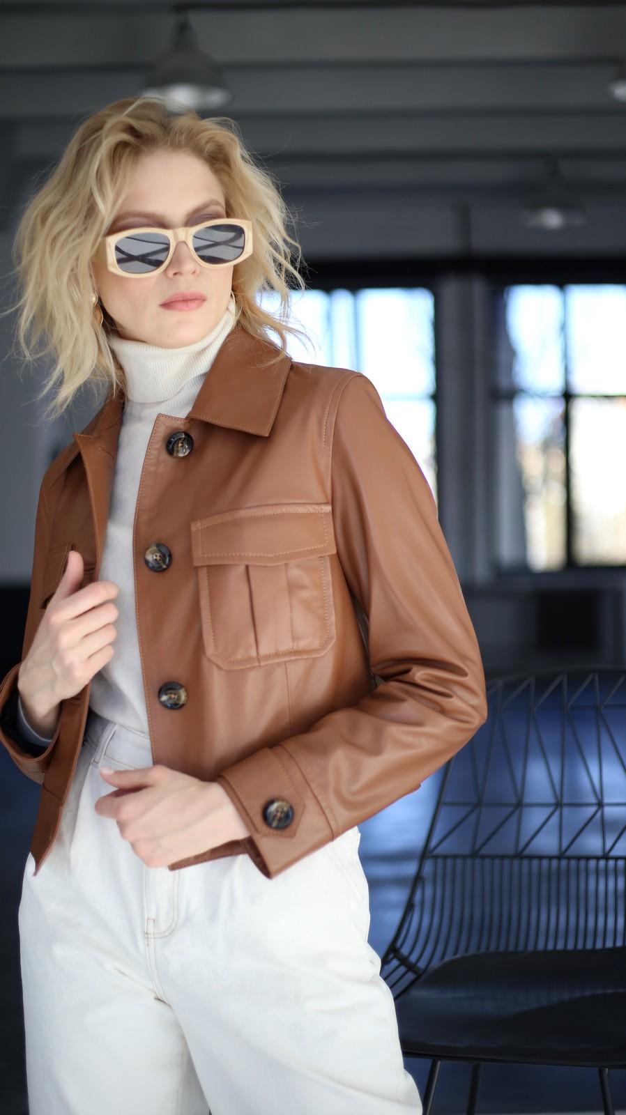 Куртка из натуральной кожи цвета виски 1