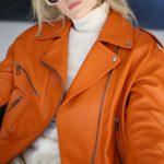 Куртка - косуха из натуральной кожи цвета сочный апельсин 5