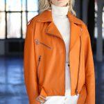 Куртка - косуха из натуральной кожи цвета сочный апельсин 3