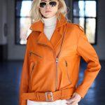 Куртка - косуха из натуральной кожи цвета сочный апельсин 2