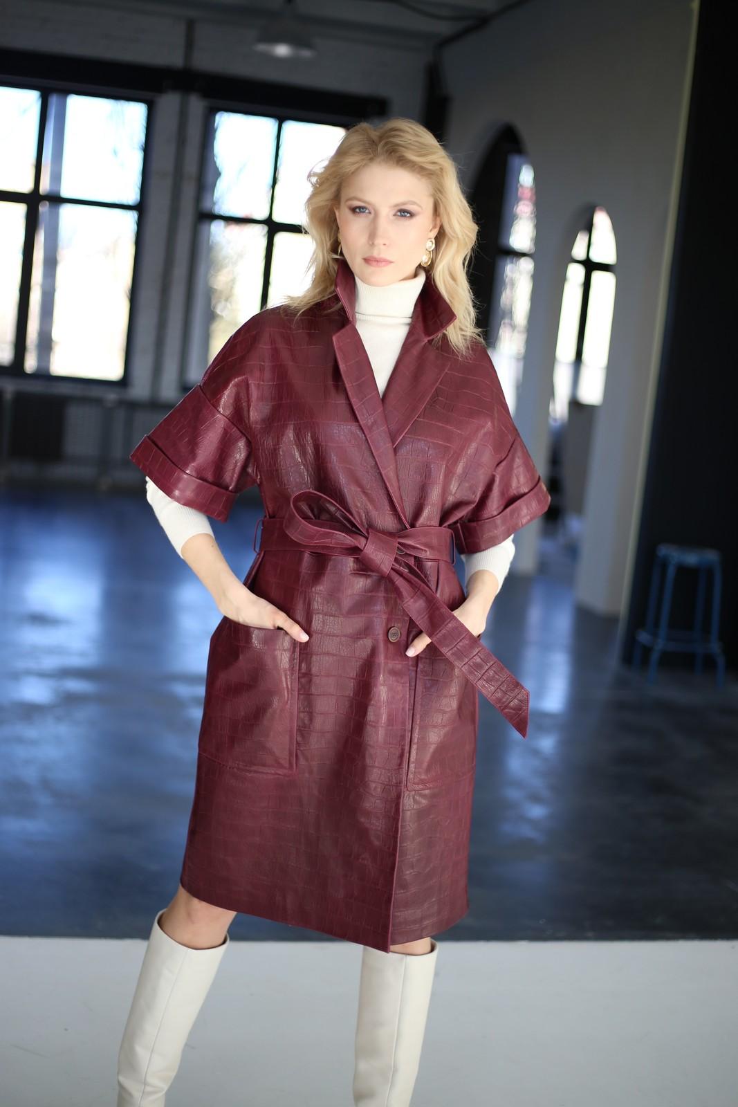 Платье - пальто из натуральной кожи под Кроко 1