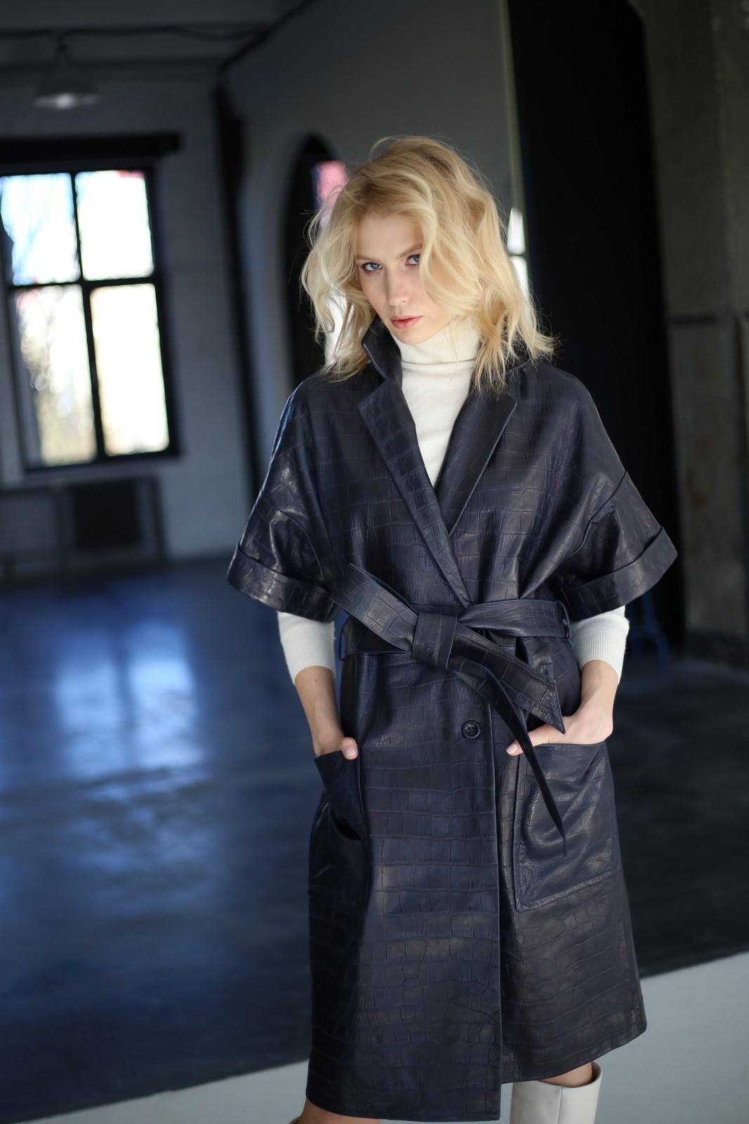 Платье - пальто из натуральной кожи 1
