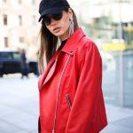 Кожаная куртка - косуха цвета спелой бруснички 5