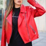 Кожаная куртка - косуха цвета спелой бруснички 3
