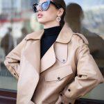 Кожаная куртка - косуха в стиле Celine цвет бежево - карамельный 5