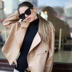 Кожаная куртка - косуха в стиле Celine цвет бежево - карамельный 4