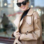 Кожаная куртка - косуха в стиле Celine цвет бежево - карамельный 2