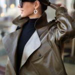 Кожаная куртка - косуха в стиле Celine цвета хаки 3