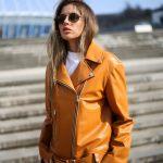 Кожаная куртка - косуха в цвете спелого мандарина 2