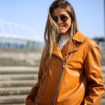 Кожаная куртка - косуха в цвете спелого мандарина 3