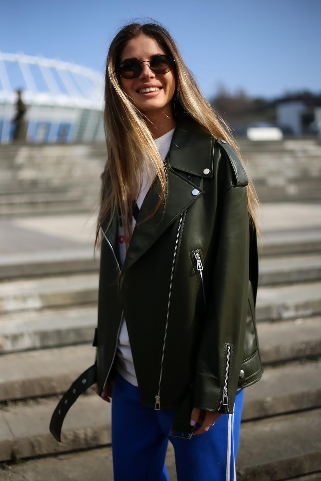 Стильная куртка - косуха из натуральной кожи в удлинённом варианте 1