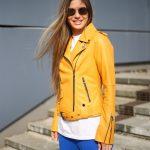 Куртка - косуха из натуральной кожи в цвете насыщенного шафрана 3