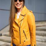 Куртка - косуха из натуральной кожи в цвете насыщенного шафрана 2