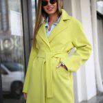 Полушерстяное пальто цвета канарейка 3
