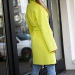 Полушерстяное пальто цвета канарейка 4