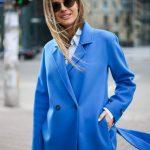 Пальто из натуральной шерсти дабл - фейс цвета синий океан 5