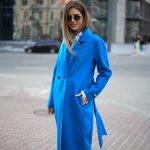 Пальто из натуральной шерсти дабл - фейс цвета синий океан 4