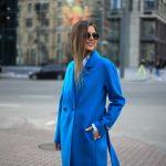 Пальто из натуральной шерсти дабл - фейс цвета синий океан 3