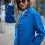 Пальто из натуральной шерсти дабл - фейс цвета синий океан 2