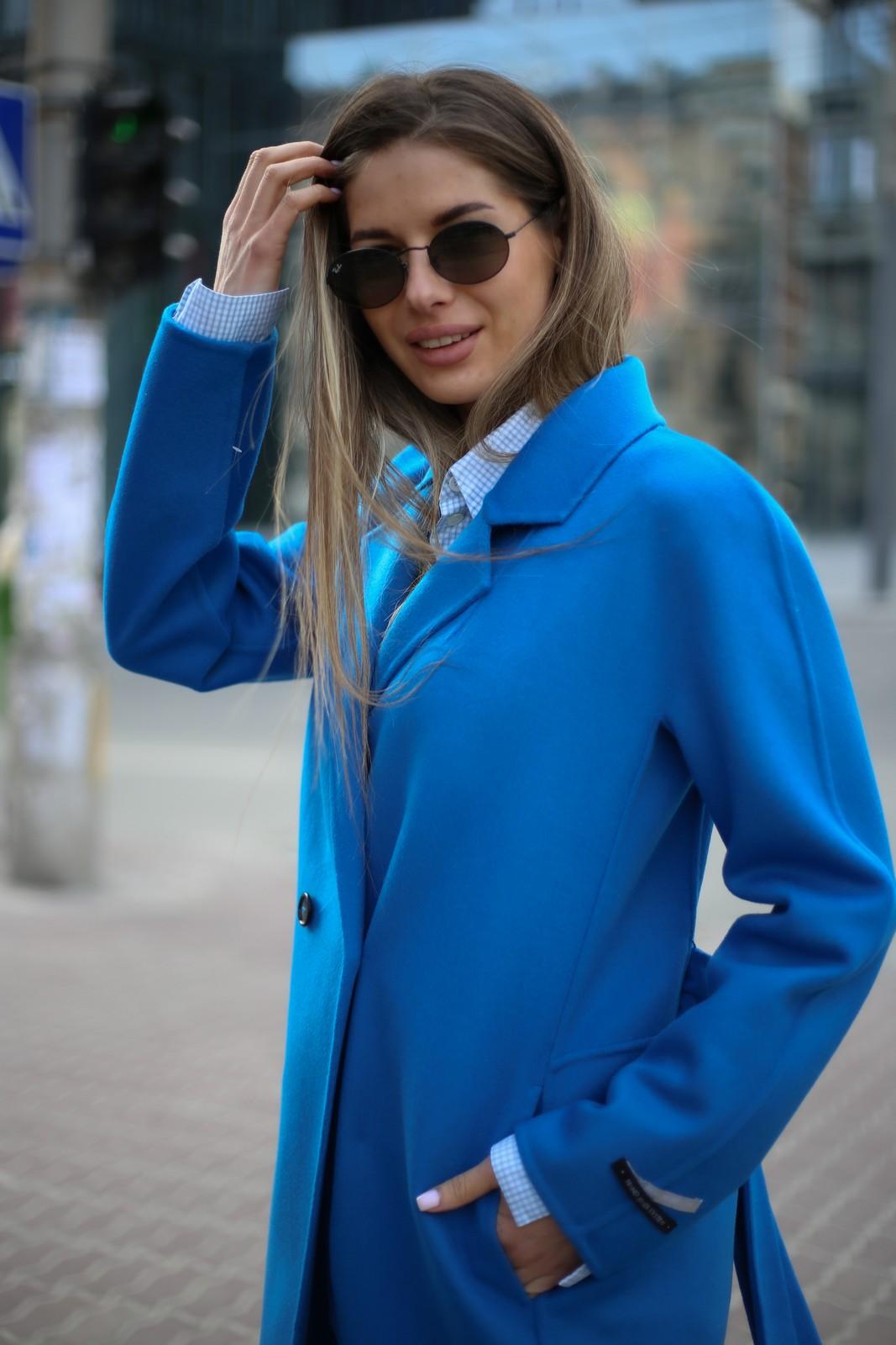 Пальто из натуральной шерсти дабл - фейс цвета синий океан 1
